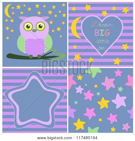 Greeting card template set including Cartoon baby owl on branch card, Heart, Moon, stars and stripes