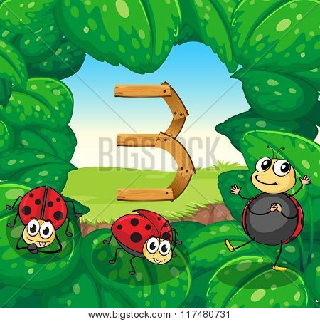 Number three with three ladybugs smiling illustration