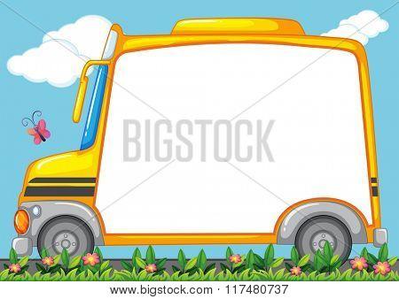 Border design with schoolbus in garden illustration