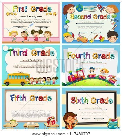 Certificates for children in primary school illustration