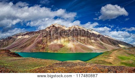 Panorama of mountain lake Chandra Tal in Himalayas. Himachal Pradesh, India