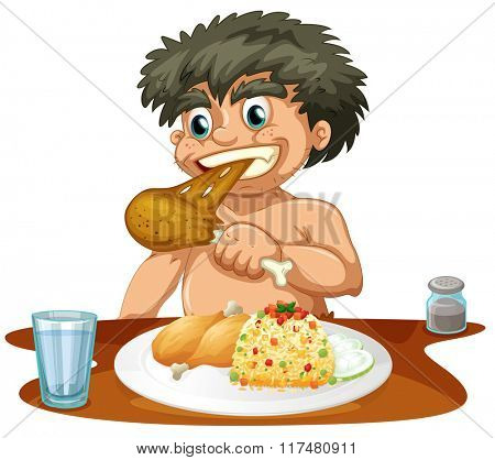 Man eating chicken and rice illustration