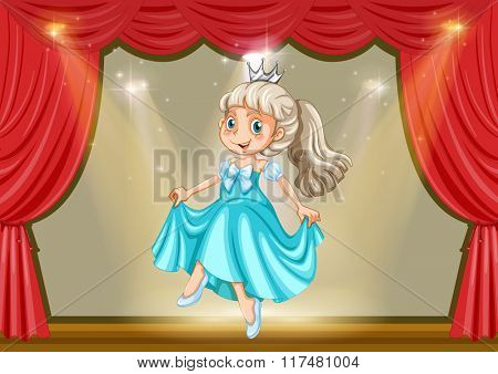 Girl in princess costume on stage illustration