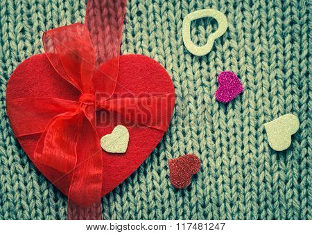 Red Felt Heart And  Colorful Decorative  Hearts