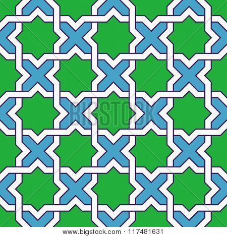 Seamless Oriental Ornament. Abstract Green and Blue Background. Vector Geometric Pattern
