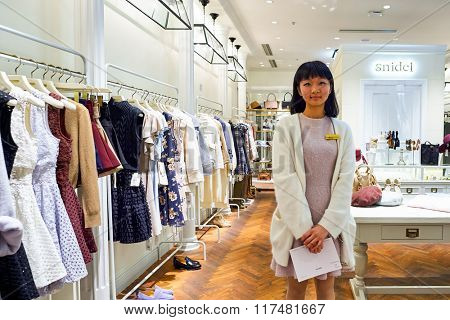 HONG KONG - NOVEMBER 02, 2015: seller in Snidel store in New Town Plaza. New Town Plaza is a shopping mall in the town centre of Sha Tin in Hong Kong. Developed by Sun Hung Kai Properties