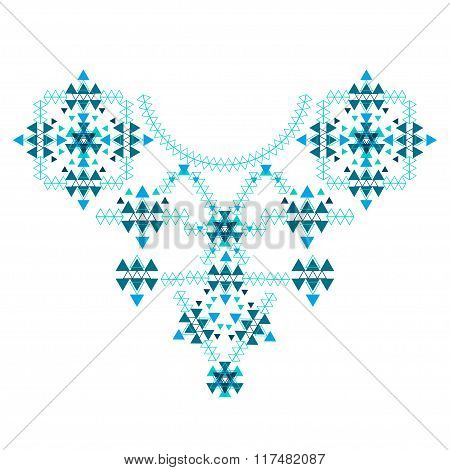 Ethnic Colorful Neck Embroidery isolated on white in vector format