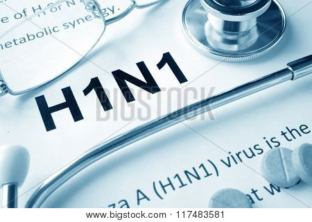 Paper with words  H1N1 disease.