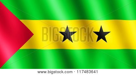 Flag Of Sao Tome And Principe Waving In The Wind