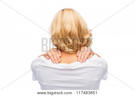 people, healthcare and problem concept - woman suffering from neck pain