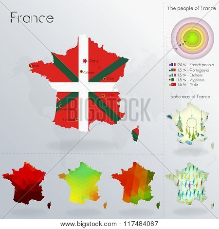 Modern Geometric And Political Map Of France. Basques People Immigration To France. Basques People D