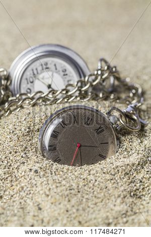 Lying On The Sand Pocket Watch.