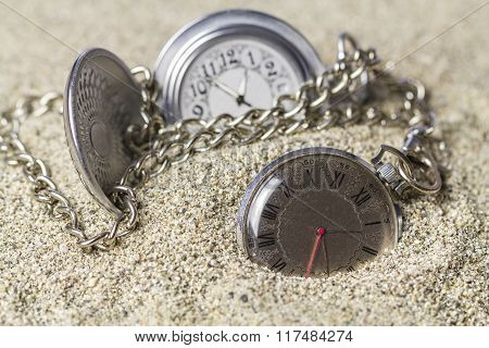Pocket Watch Covered With Sand.