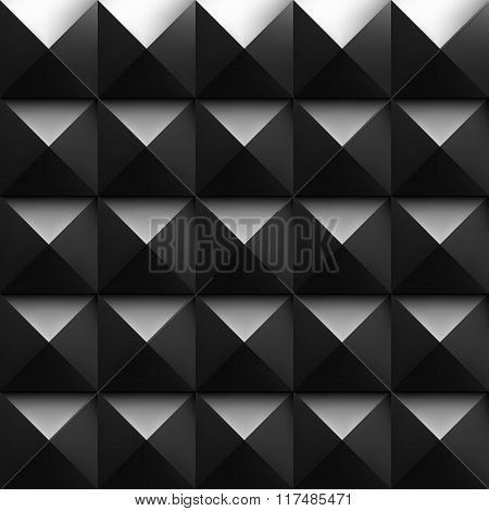 Black soundproofing foam background with light.