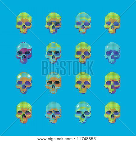 Vector set of stylized skull on a blue background isolated.