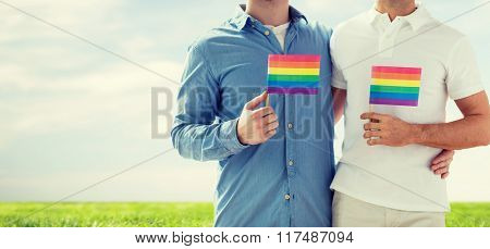 people, homosexuality, same-sex marriage, gay and love concept - close up of happy male gay couple hugging and holding rainbow flags over blue sky and grass background