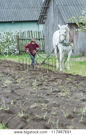 Teenage farmer boy working land in traditional way with horse and plough