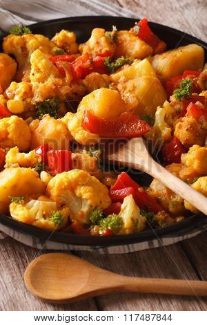 Indian Food: Gobi Aloo With Cauliflower And Vegetables Close-up
