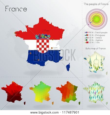 Modern Geometric And Political Map Of France. Croats Immigration To France. Croats Diaspora In Franc