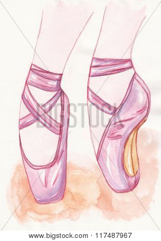 Pointe shoes on watercolor textured background