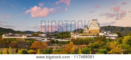 Himeji Castle panorama in Himeji, Japan.