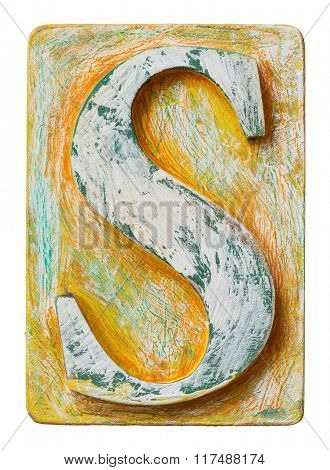 Wooden alphabet block, letter S