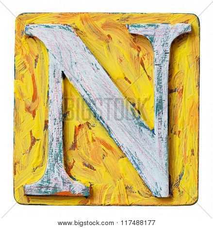 Wooden alphabet block, letter N