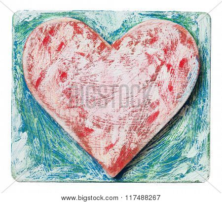 Painted on wood heart shape block, love symbol