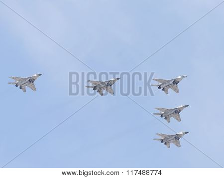 Five Mig-29 Flying Wedge On Victory Day