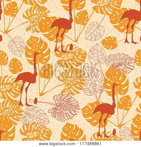 Seamless Vintage Pattern With Ostrich And Monstera Lives