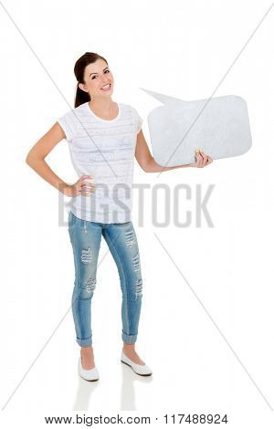 pretty teen girl holding speech bubble against white background