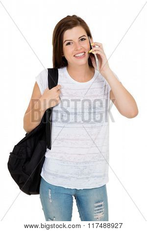 happy female college student talking on cell phone