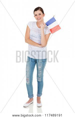 gorgeous young woman holding france flag