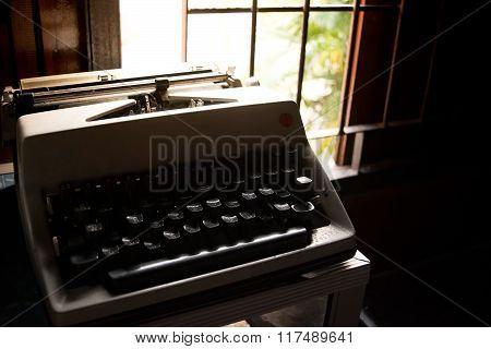 Old Typewriter ( Keyboard Thai Language ) In Room - Retro Style