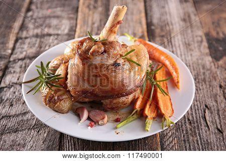 lamb chop and vegetables