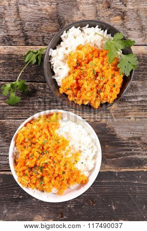 bowl with rice and red lentils