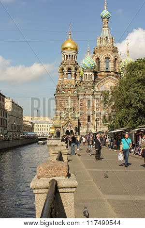 Cathedral On The Griboyedov Canal Embankment.