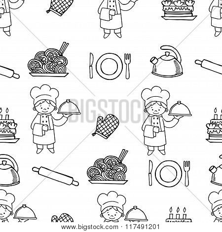 Cook white and black seamless pattern.