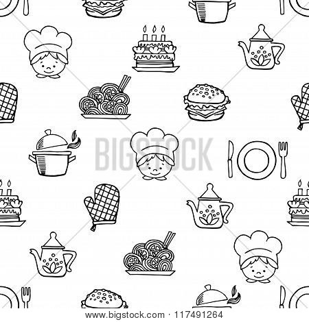 Food white and black seamless pattern.