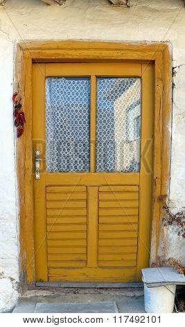 picture of an Old yellow front door. Ohrid Macedonia