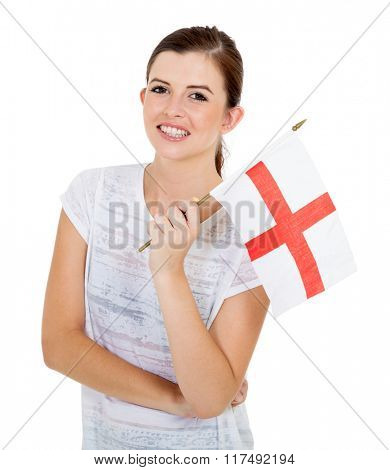 attractive teenage girl with england flag