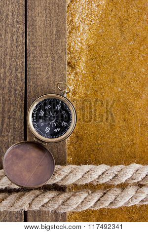 Berth Rope On A Wooden Background