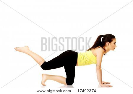 Fitness woman doing fitness exercise.