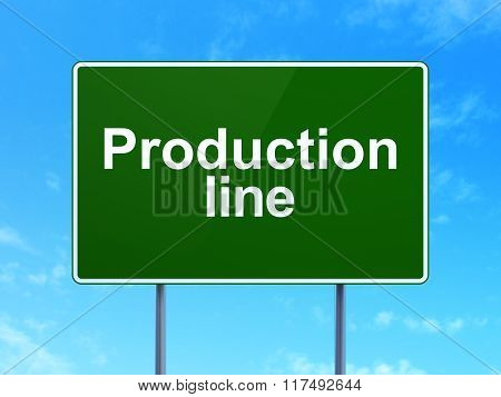 Industry concept: Production Line on road sign background