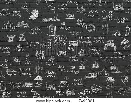 Grunge background: Black Brick wall texture with Painted Hand Drawn Industry Icons