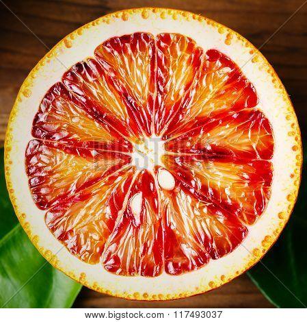Half Of An Orange Citrus Fruit Close Up
