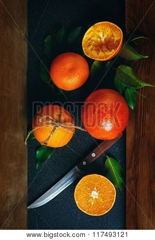 Still Life With Ripe Juicy Oranges
