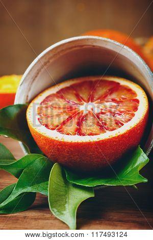 Ripe Juicy Half Of An Orange Citrus Fruit