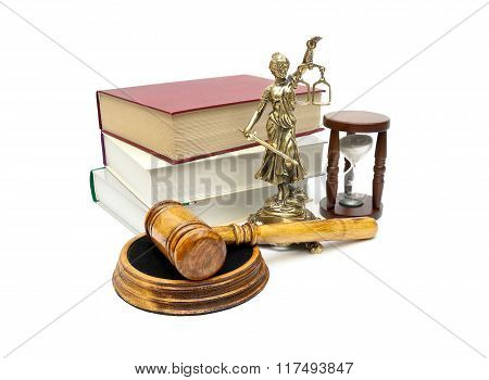 Judge Gavel, Books And A Statue Of Justice On A White Background