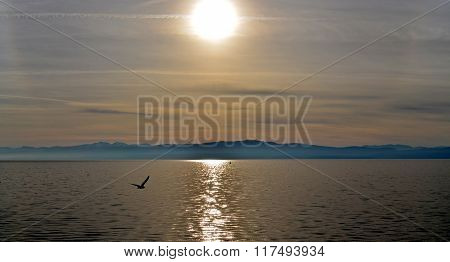 Picture of a sunset over lake ohrid macedonia
